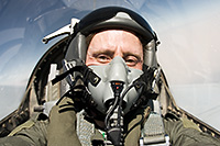 Dr Sean Wilson in the backseat of a Royal Bahraini Air Force F-16D during Exercise Initial Link (May 2008)